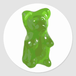 Caramelo gomoso verde del oso pegatina redonda