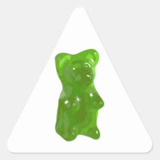 Caramelo gomoso verde del oso pegatina triangular