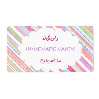 Caramelo hecho en casa personalizado raya en color etiquetas de envío