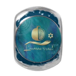 Caramelo judío del regalo del Año Nuevo el | Rosh Frascos Cristal