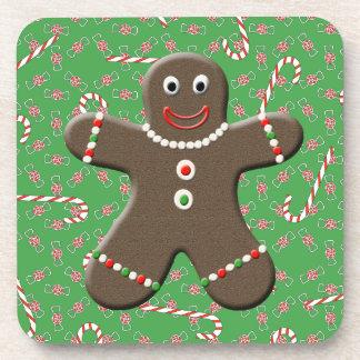Caramelo lindo del navidad del muchacho del hombre posavasos