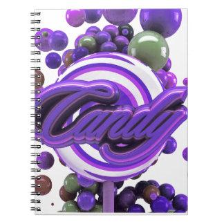 Caramelo loco del Lollipop del ciruelo Libro De Apuntes