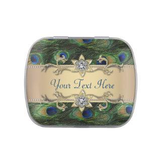 Caramelo real esmeralda del boda del pavo real del
