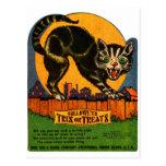 Caramelo retro del gato negro de Halloween del Postales
