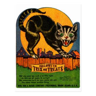 Caramelo retro del gato negro de Halloween del Postal
