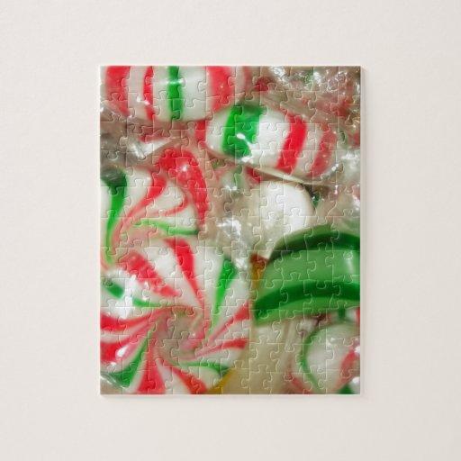 Caramelo rojo y verde del navidad puzzle