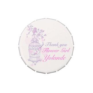 Caramelo rosado púrpura del favor del boda del flo frascos de caramelos