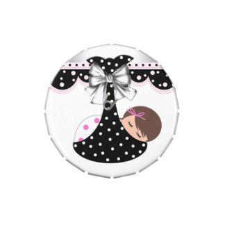 Caramelo rosado y negro dulce de la fiesta de jarrones de caramelos