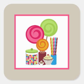 Caramelo y dulces pegatina cuadrada