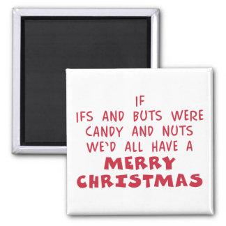 Caramelo y Felices Navidad Nuts - regalo del humor Imán Cuadrado