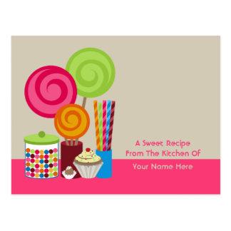 Caramelo y postal de la receta de los dulces