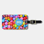 Caramelos coloridos etiquetas maleta