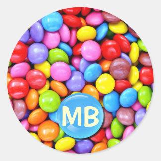 Caramelos coloridos pegatina redonda