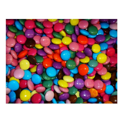 Caramelos coloridos postales