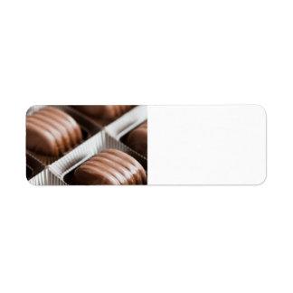Caramelos de chocolate etiqueta de remite