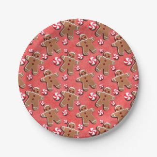 Caramelos de las galletas del pan de jengibre plato de papel de 7 pulgadas