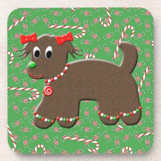 Caramelos festivos del navidad del perro lindo del posavasos de bebida