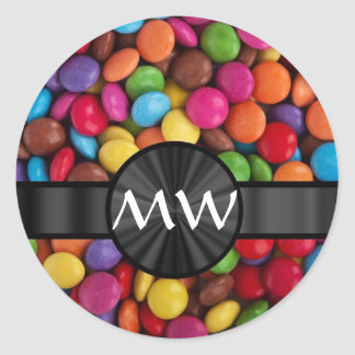 Caramelos mnogrammed multicolores pegatina redonda