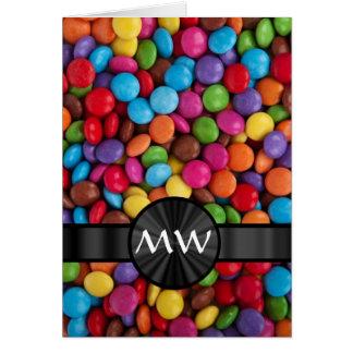 Caramelos mnogrammed multicolores tarjeta de felicitación