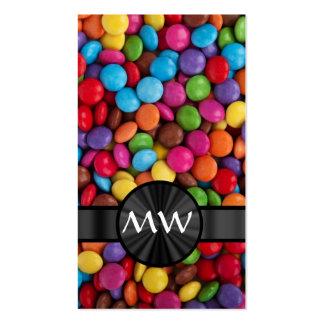 Caramelos mnogrammed multicolores tarjetas de visita