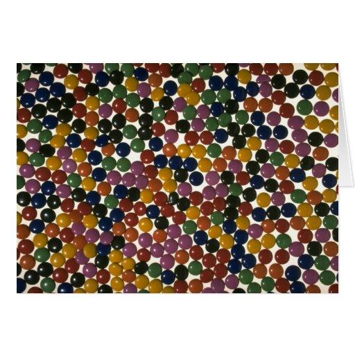 Caramelos multicolores deliciosos tarjeta de felicitación