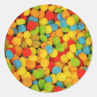 Caramelos suaves amargos pegatina redonda