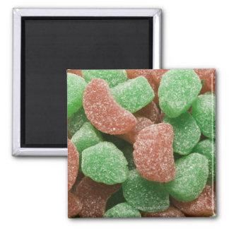 Caramelos verdes y rojo azucarados imán cuadrado