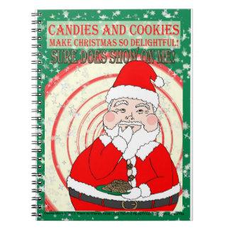 Caramelos y navidad divertido Santa de las galleta Libretas