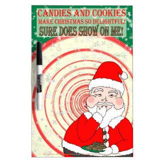 Caramelos y navidad divertido Santa de las galleta Pizarras Blancas De Calidad