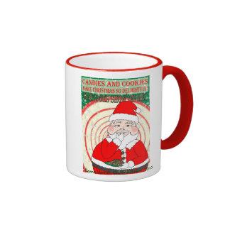 Caramelos y navidad divertido Santa de las galleta Taza De Café