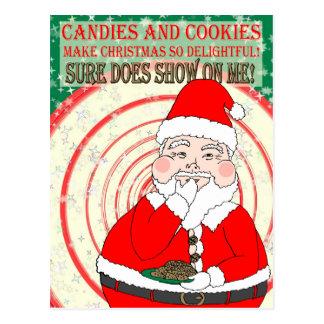 Caramelos y navidad divertido Santa de las Postal