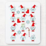 Caras abstractas de Navidad Alfombrillas De Raton