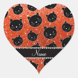 Caras anaranjadas de neón conocidas de encargo del pegatina en forma de corazón