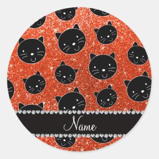 Caras anaranjadas de neón conocidas de encargo del pegatina redonda
