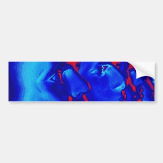 Caras azules pegatina de parachoque