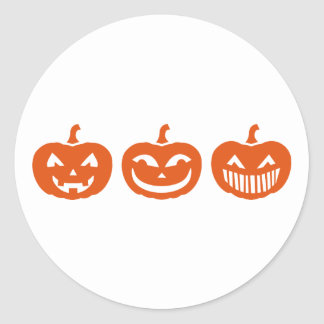 Caras de la calabaza de Halloween Etiqueta Redonda