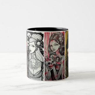 caras de la señora taza de café de dos colores