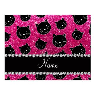 Caras de neón conocidas de encargo del gato negro postales