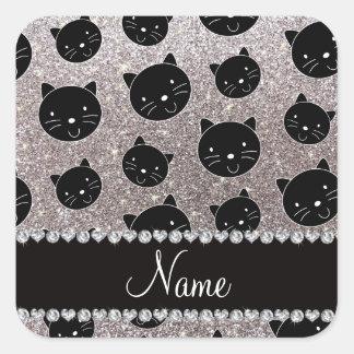 Caras de plata conocidas de encargo del gato negro pegatina cuadrada