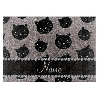 Caras de plata conocidas de encargo del gato negro tablas de cortar