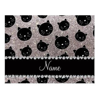 Caras de plata conocidas de encargo del gato negro tarjeta postal