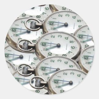 Caras de reloj múltiples pegatina redonda