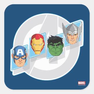 Caras del carácter de vengadores sobre logotipo pegatina cuadrada