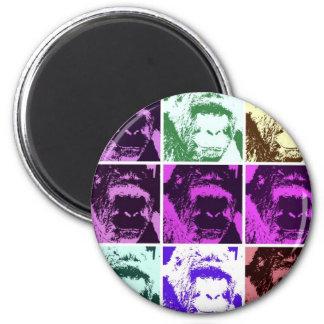 Caras del gorila del arte pop imán redondo 5 cm