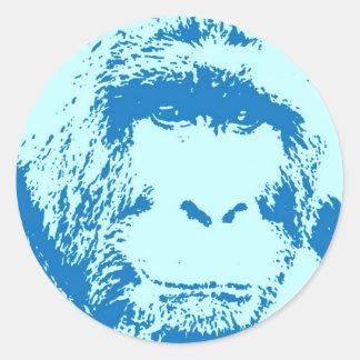 Caras del gorila del arte pop pegatina redonda
