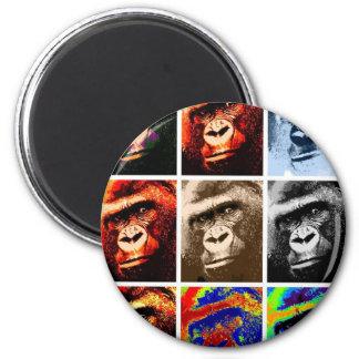 Caras del gorila imán redondo 5 cm