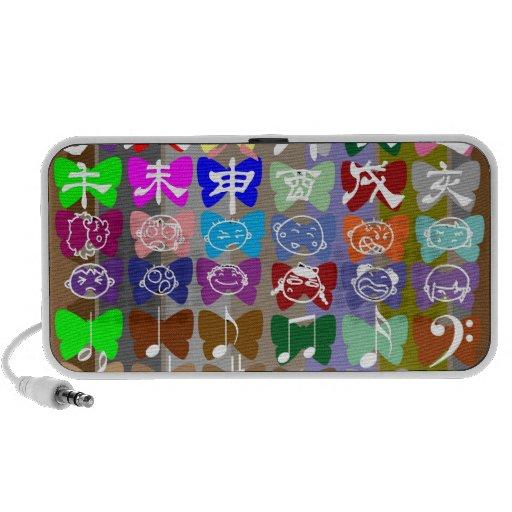 Caras divertidas, caracteres chinos y chispas laptop altavoces