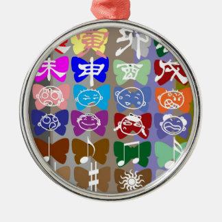 Caras divertidas, caracteres chinos y chispas adorno para reyes