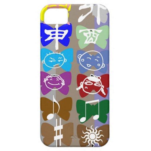 Caras divertidas, caracteres chinos y chispas iPhone 5 Case-Mate coberturas