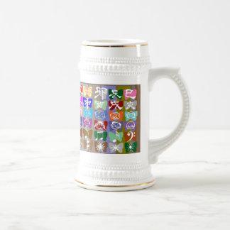 Caras divertidas, caracteres chinos y chispas tazas de café